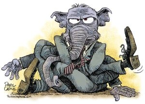 GOP-elephant-tangled-in-knots-Daryl-Cagle